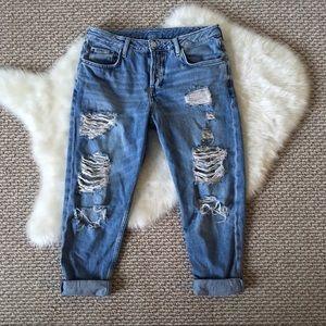 Topshop Moto Distressed Baggy Boyfriend Jeans